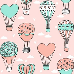 valentines hot air balloon // cute hearts balloons fabric nursery baby pink