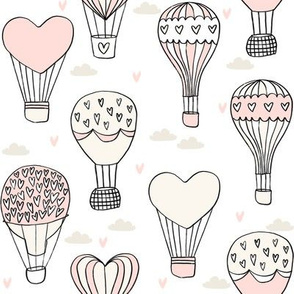valentines hot air balloon // cute hearts balloons fabric nursery baby white pastel