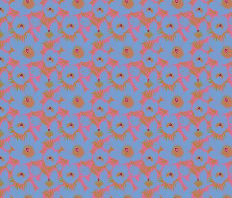 Arctic Blueish Pasque flowers (Pantone sachet pink) fabric by helenpdesigns on Spoonflower - custom fabric