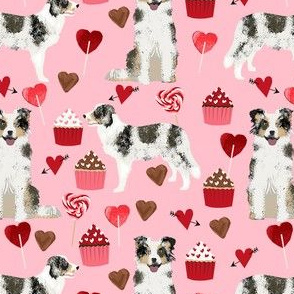 border collie blue merle valentines cupcakes hearts love dog fabric pink