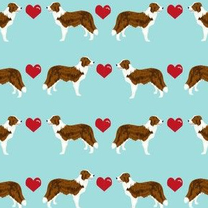 border collie love hearts dog breed fabric collies blue