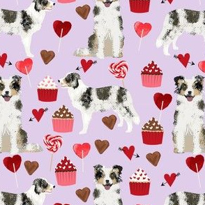 border collie blue merle valentines cupcakes hearts love dog fabric lavender