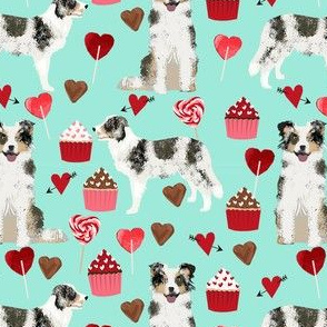 border collie blue merle valentines cupcakes hearts love dog fabric turquoise