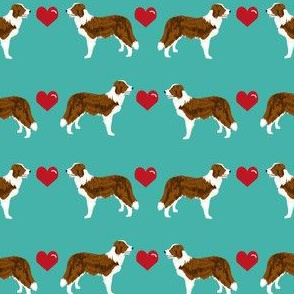 border collie love hearts dog breed fabric collies turquoise