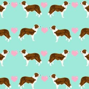 border collie love hearts dog breed fabric collies mint