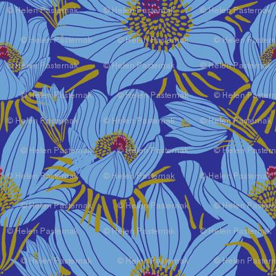 Arctic Blueish Pasque flowers (Pantone blue 2)