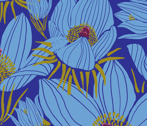 Arctic Blueish Pasque flowers (Pantone blue 2) fabric by helenpdesigns on Spoonflower - custom fabric