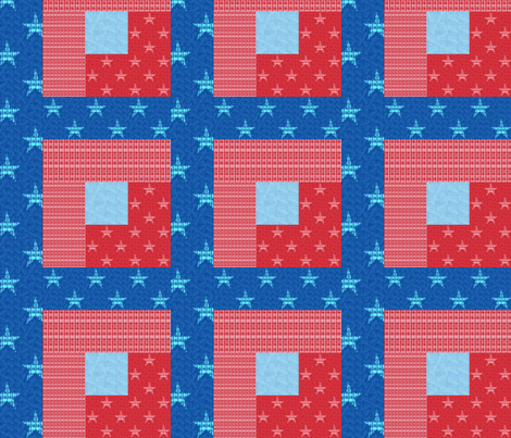 Stars and Stripes Box Cheater Quilt fabric by twigsandblossoms on Spoonflower - custom fabric