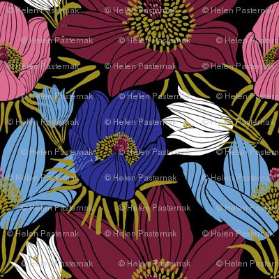 Arctic Pasque flowers mix (black)