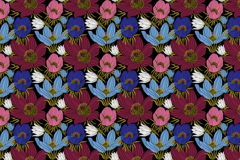 Arctic Pasque flowers mix (black) fabric by helenpdesigns on Spoonflower - custom fabric