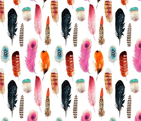 Bohemian Feathers fabric by hipkiddesigns on Spoonflower - custom fabric