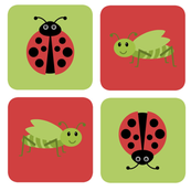 cute bugs red and green