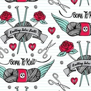 Born To Knit Tattoo - White Retro