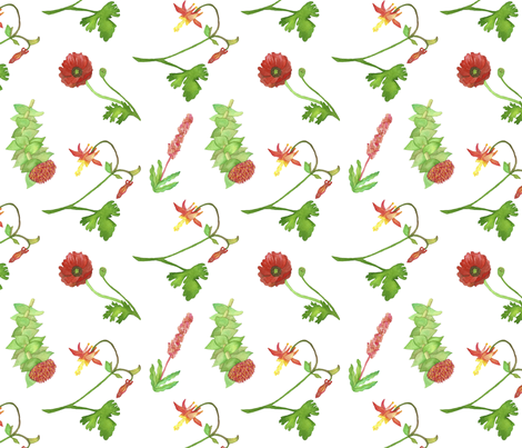 Red flowers watercolor white fabric by ksharpstudio on Spoonflower - custom fabric