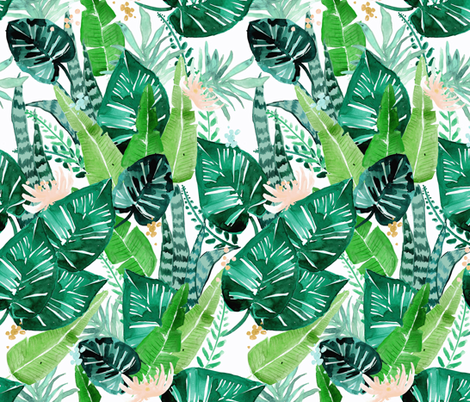jungle tropical white fabric by crystal_walen on Spoonflower - custom fabric