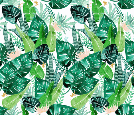 jungle-tropical//white fabric by crystal_walen on Spoonflower - custom fabric