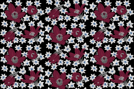 Arctic Red Pasque _ White Saxifrage flowers (black) fabric by helenpdesigns on Spoonflower - custom fabric