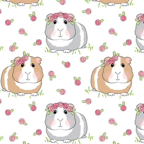 guinea-pigs-with-roses-on-white fabric by lilcubby on Spoonflower - custom fabric