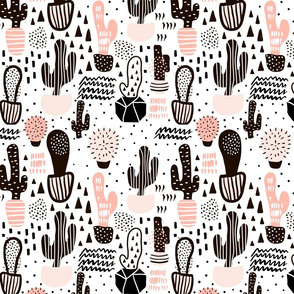 Cactuses in pots and hand drawn textures