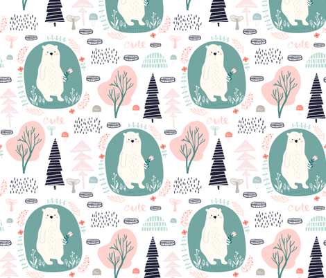 Bear in the forest fabric by solmariart on Spoonflower - custom fabric