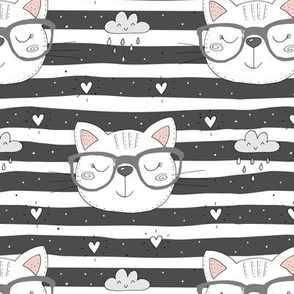 Geeky Cat on Stripes