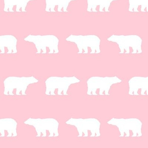 bear silhouette pink and white animal fabric girls nursery woodland camping