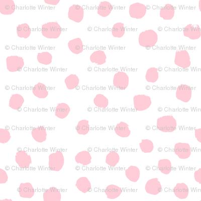 dots polka dot fabric white and pink nursery girls decor