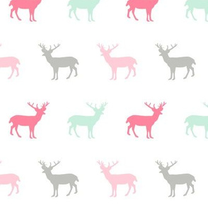 moose silhouette animals woodland nature fabric  girls nursery pink and mint