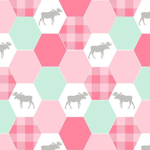moose cheater quilt hexagons fabric pink mint and white girls nursery
