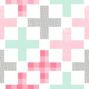 swiss crosses forest camping woodland nature nursery fabric pink white mint