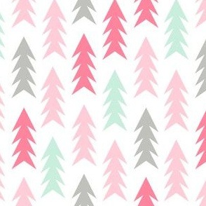 Trees forest camping woodland nature nursery fabric pink white mint