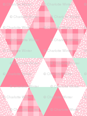triangle cheater quilt coordinate for girls room nursery buffalo plaid pink and mint