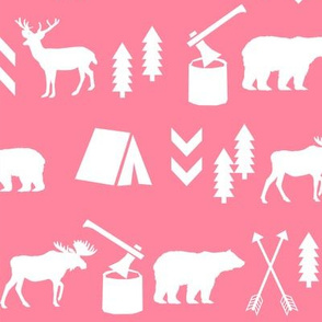 deer and bear camping tent nursery girls fabric pink and white