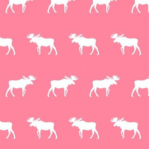 moose silhouette camping woodland animal fabric for nursery girls room pink