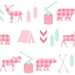 deer and bear camping tent nursery girls fabric pink plaid