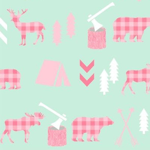 deer and bear camping tent nursery girls fabric mint