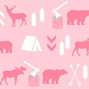 deer and bear camping tent nursery girls fabric pink