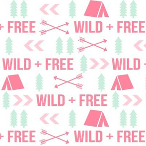 wild and free typography camping tent arrows fabric white pink and mint