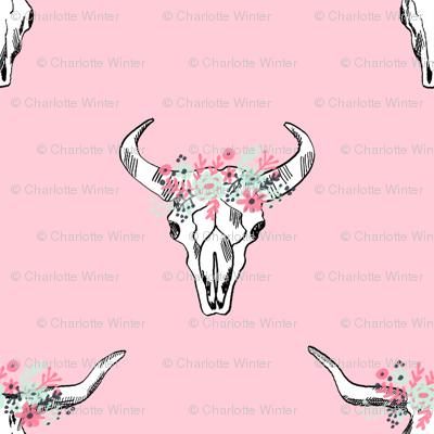 Deer skull antlers seer head woodland nature nursery florals fabric pink