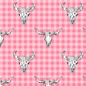 Deer skull antlers seer head woodland nature nursery florals fabric buffalo plaid pink