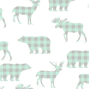 bear and deer silhouette buffalo plaid cute fabric for girls room or nursery mint