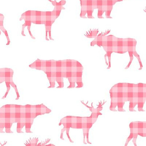 bear and deer silhouette buffalo plaid cute fabric for girls room or nursery pink