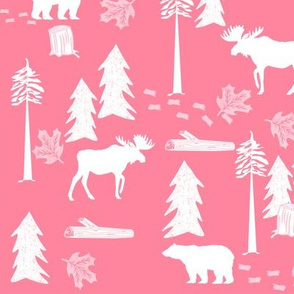 bear and deer woodland fabric nursery kids cute animals white and pink woodland