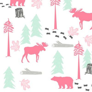 bear moose deer camping outdoors tree nature fabric for nursery kids girls rooms