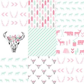camping quilt deer head antlers nursery kids pink outdoors fabric