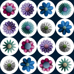 Moondale - Circles & Flowers in Admiral Blue