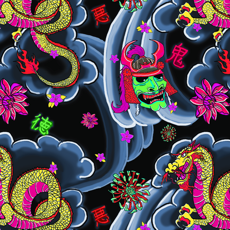 Neon Japanese Tattoo fabric by galactikat on Spoonflower - custom fabric