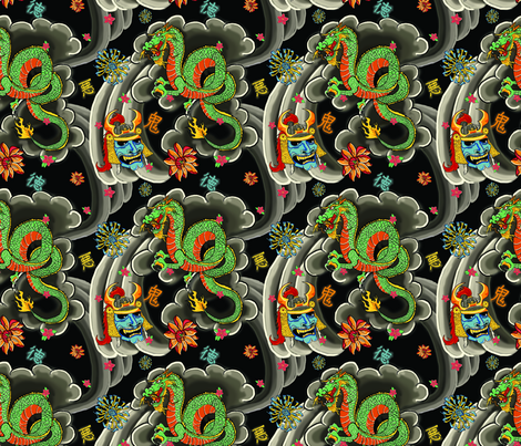 Traditional Japanese Tattoo fabric by galactikat on Spoonflower - custom fabric