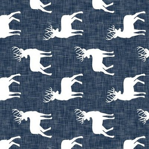 (small scale) bucks on navy linen (90)