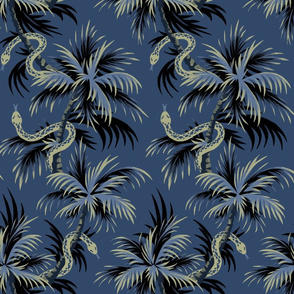 Snake Palms - Dark Blue/Gold - AndreaAlice